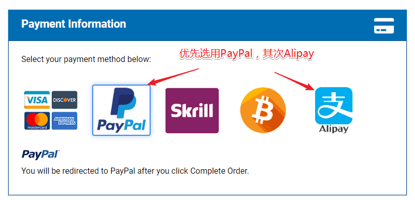 HOSTWINDS付款方式:PayPal/支付宝
